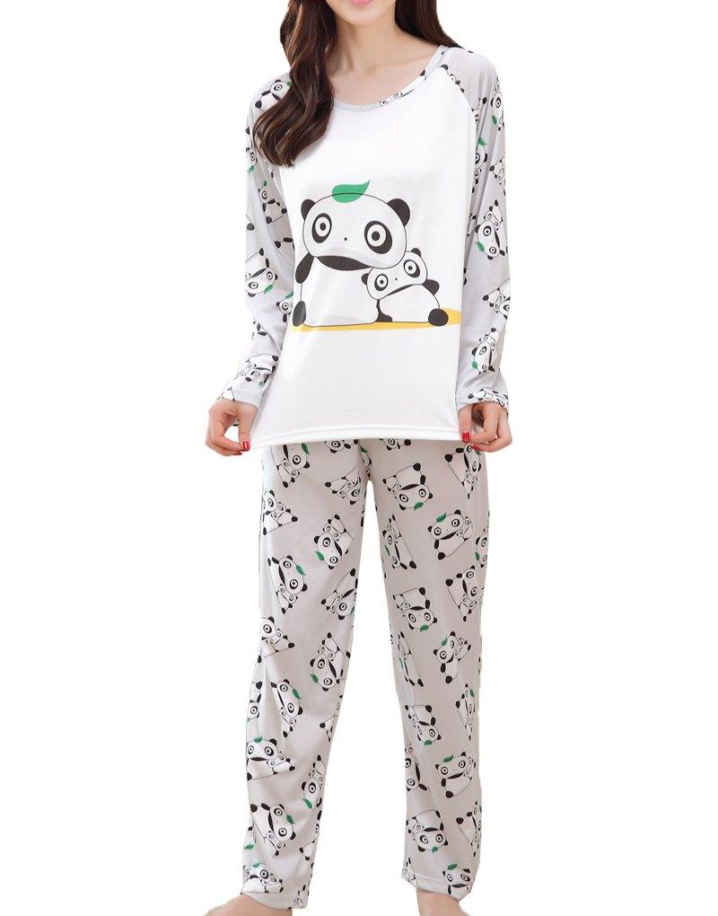MyFav Big Girls Cute Panda Pajama Set Casual Comfy Loungewear Children Sleepwear