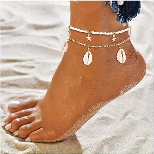 3 cadenas para tobillo o pulsera de conchas Kauri tama/ño ajustable cadena para el pie y pulsera para mujer y ni/ña