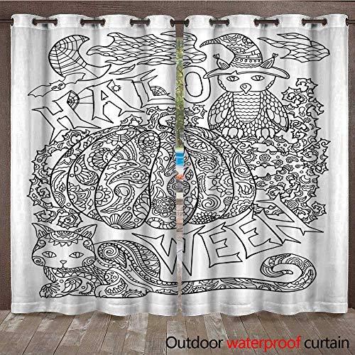 RenteriaDecor Home Patio Outdoor Curtain Halloween Coloring Page