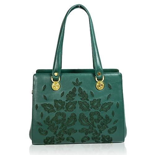 Valentino Orlandi diseñador italiano bolso de cuero verde bordado cartera: Amazon.es: Zapatos y complementos