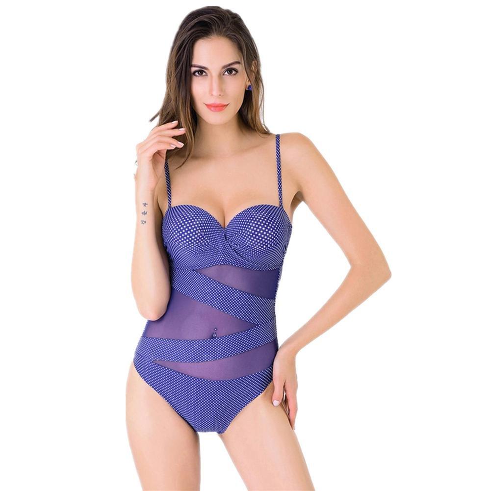 Retro Wellenpunkt Netz Garn Siamese Frauen Badeanzug Bikini