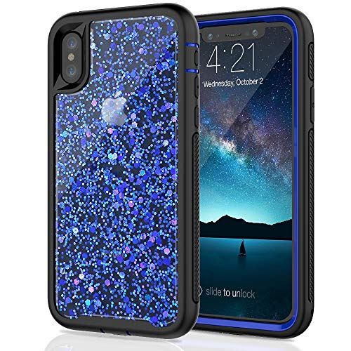 Iphone Stock - SEYMAC Stock for iPhone X/iPhone Xs Girls/Women Case, [Hybrid Drop Protection] case Shiny [in-Material-Decoration Design], Dual Layer Flexible Protective Case for iPhone X/XS 2017/2018 - Blue