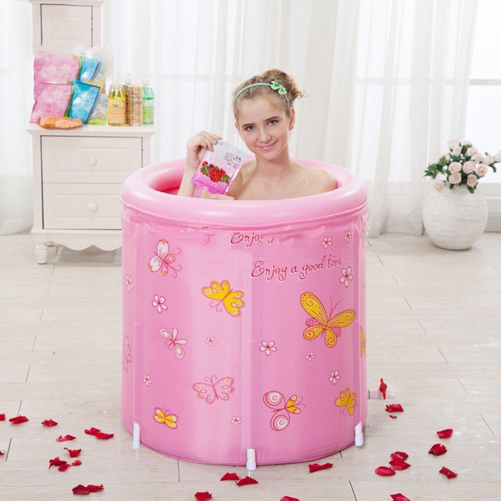Pink Bao Xing Bei Firm Cotton padded folding bathtub bath barrel adult bath barrel bath barrel (color   Pink)