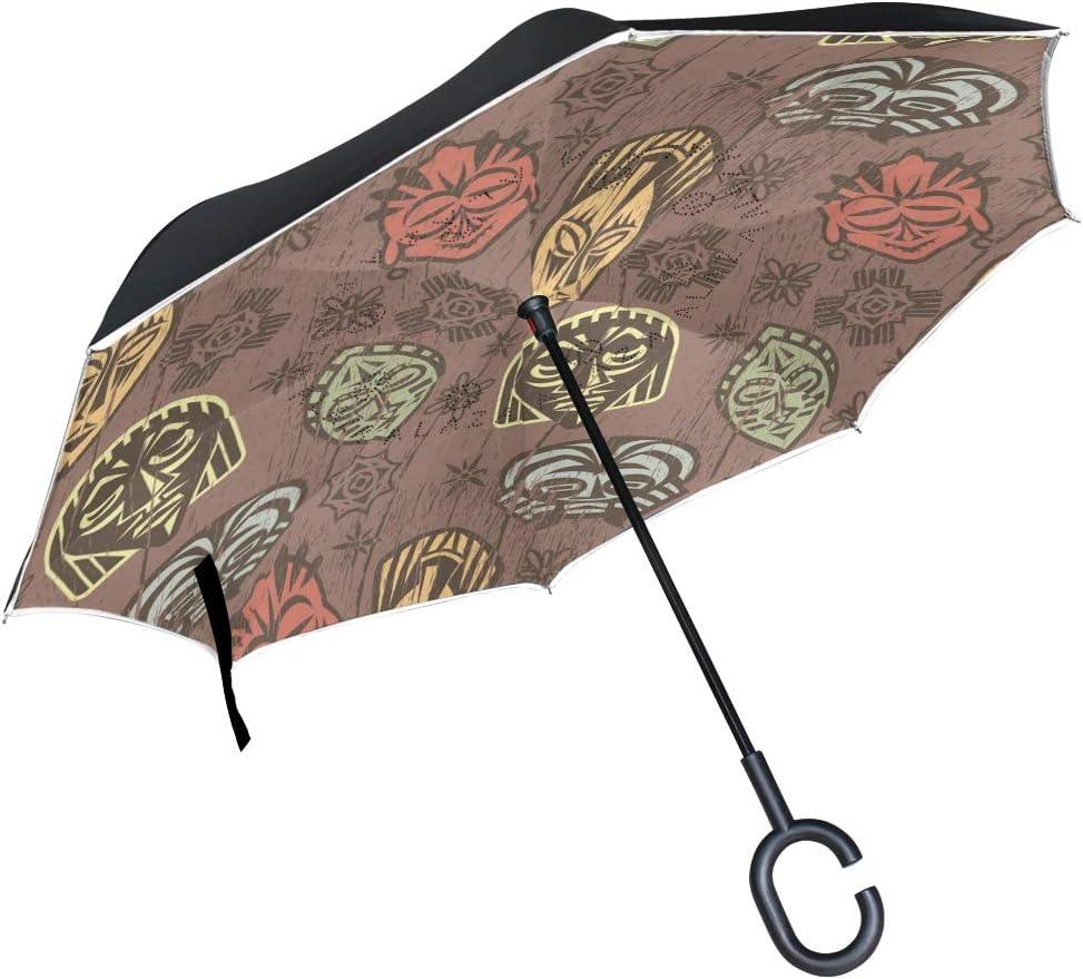 Mnsruu Paraguas invertido de Doble Capa Colorido Africano máscaras Plegable Paraguas Resistente al Viento protección UV para Uso en Coche Lluvia al Aire Libre con Mango en Forma de C
