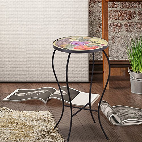 Adeco Round Side Table Plant Stand Accents Serving Snack Tea Glass Top - Grape Design Plant Stand