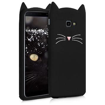 kwmobile Funda para Samsung Galaxy J4+ / J4 Plus DUOS - Carcasa Protectora de [Silicona] y diseño con Gato - Cover [Trasero] de móvil