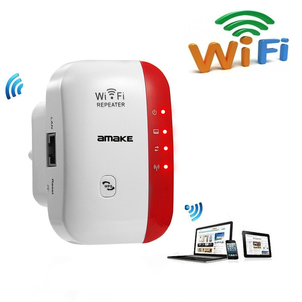 AMAKE Wifi Range Extender Wireless-N Mini Repeater 2.4G Lan AP High Speed Signal Booster Access Point Amplifier Network Adapter Wlan Repeater/AP Modes Comply 802.11 with WPS(US Plug)