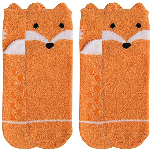 Fuzzy Soft Socks,Womens Girls Cartoon Funny Animal Themed Yellow Fox Fashion Patterned Anti Slip Resistant Sole Slipper Socks Crew Casual Socks Vive Bears 2 Pairs