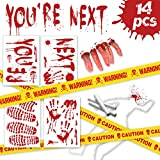 Pawliss Halloween Crime Scene Party Decorations 14 Pack Kit, Haunted House Bloody Zombie Decor, Caution Tape, Body Silhouette, Bloody Handprints Footprints Wall Decals Window Décor