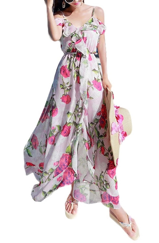 Bigood Volants Schulterfrei Damen Elegante Blume Druck Strand kleid Rosa