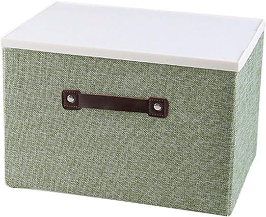 Caja de almacenamiento de tela moderna con tapa Organizador de caja de contenedor de ropa plegable (tamaño grande, verde): Amazon.es: Amazon.es