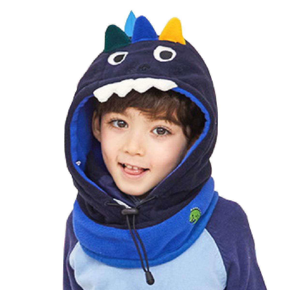 TRIWONDER Kids Balaclava Face Mask Fleece Ski Mask Neck Warmer Nose Warmer Face Cover Winter Animal Hood Hat for Boys Girls (Navy Blue - Dinosaur)