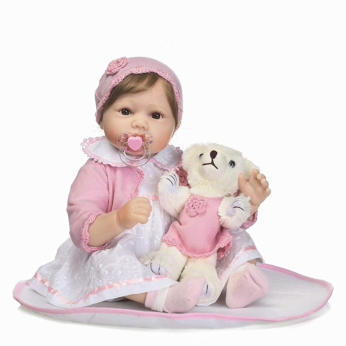 Moreaulun 21.65inch Kids Reborn Baby Doll Silicona Realista Newborn Doll Girl Touch Soft