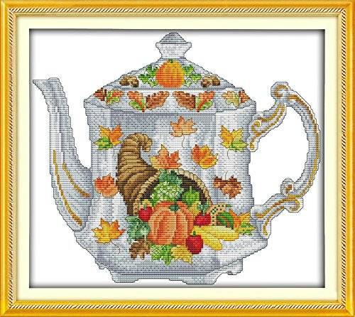 "Good Value Cross Stitch Kits Beginners Kids Advanced -Teapot 11 CT 18""X16"", DIY Handmade Needlework Set Cross-Stitching Accurate Stamped Patterns Embroidery Home Decoration Frameless"