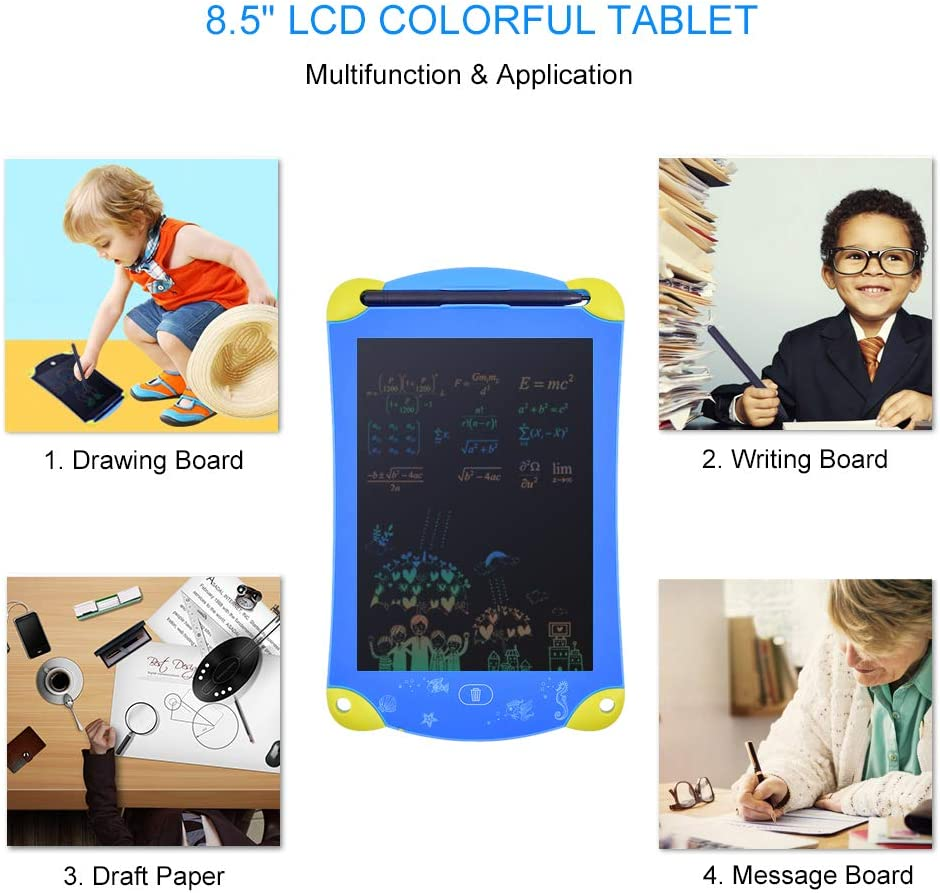ZZHK 8.5 Colorful LCD Writing Drawing Tablet Digital Graphic Tablets Portable Electronic Paint Pad Board Touch Pen//Battery