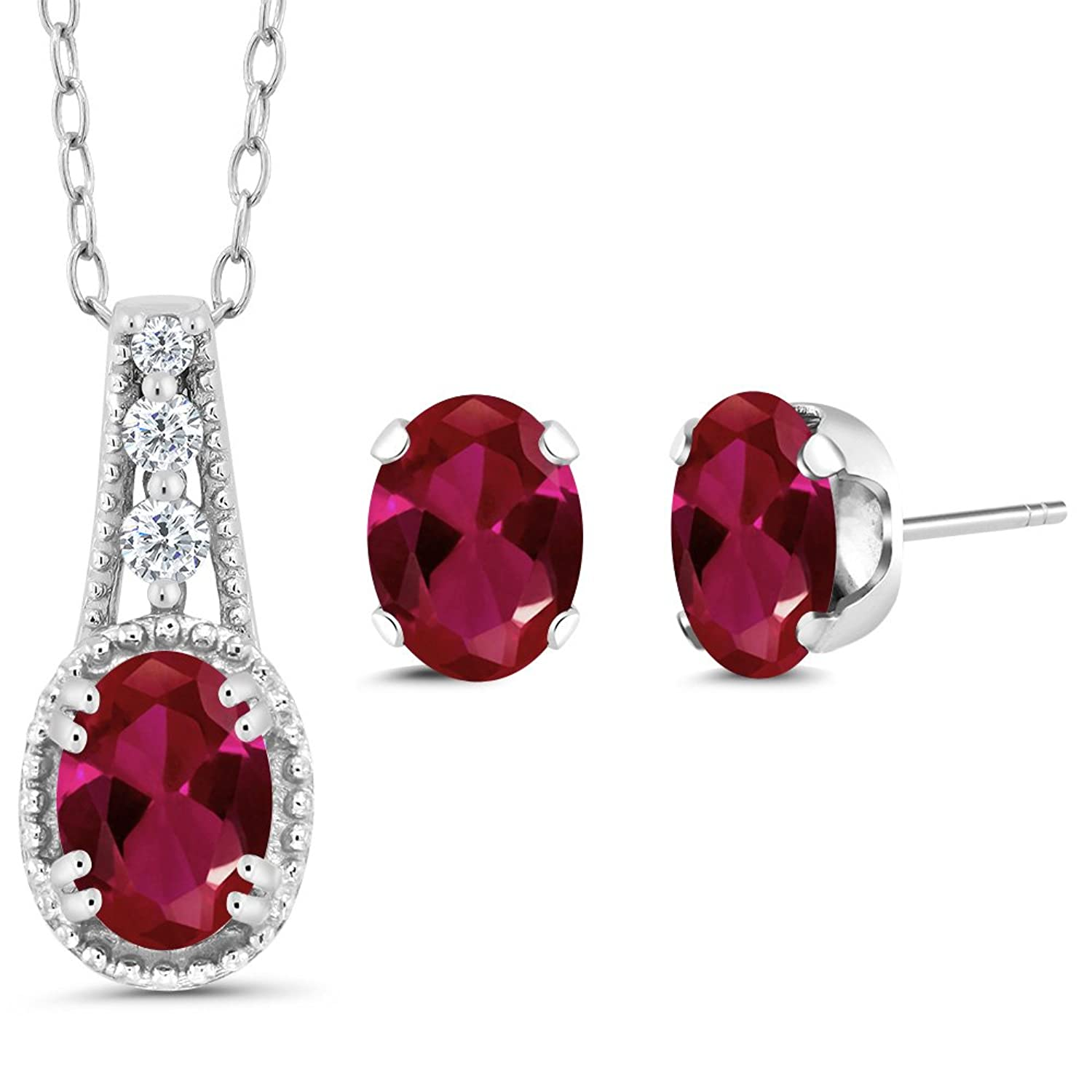1.58 Ct Oval Red Created Ruby 14K White Gold Pendant Earrings Set