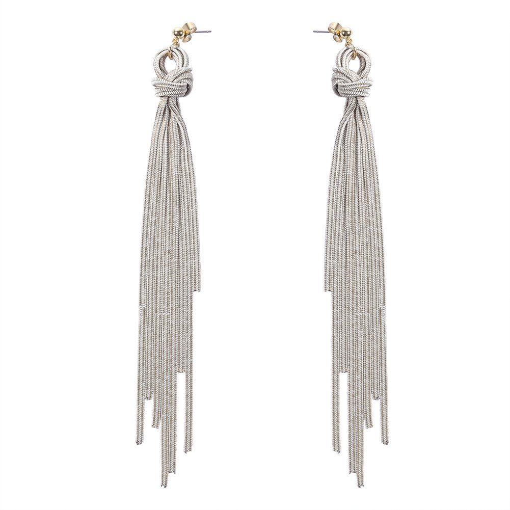 WOWSHOW Long Dangle Tassel Earrings Long Earrings for Women Dangle Drop Chain Earrings White