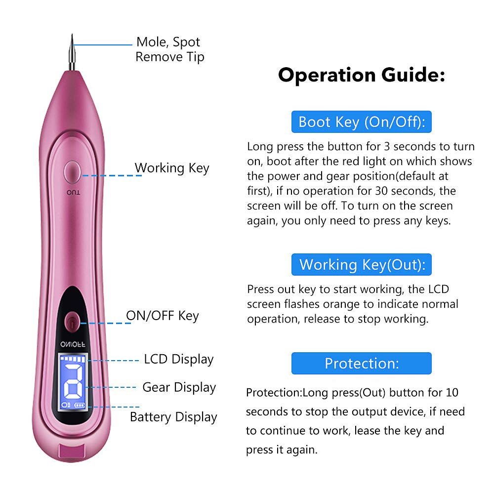 Mole Removal Pen,GoZheec Protable Home & Professional 9 Strength Levels Beauty Pen for Body Facial Freckle Nevus Warts Age Spot Tattoo Remover-Rose Pink and Metallic Red (RosePink)