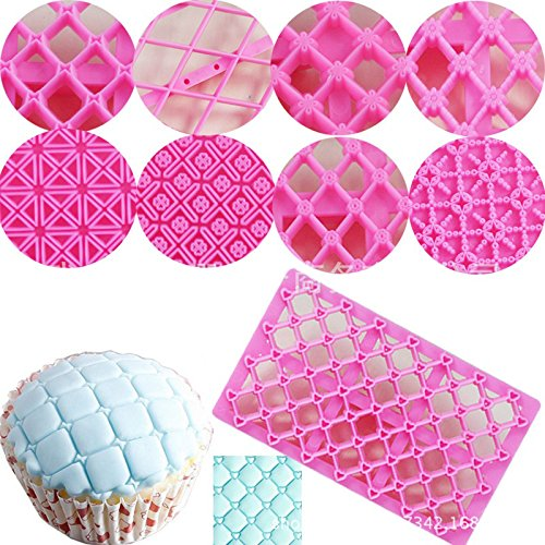 Cake Fondant Embossing Mould,9 Pack Different Patterns Fondant Embosser,Lace Flower Cookie Cutter Set,Diamond Shaped Biscuit Molds,Cake Fondant CupCake Decorating by Mity rain (Image #1)