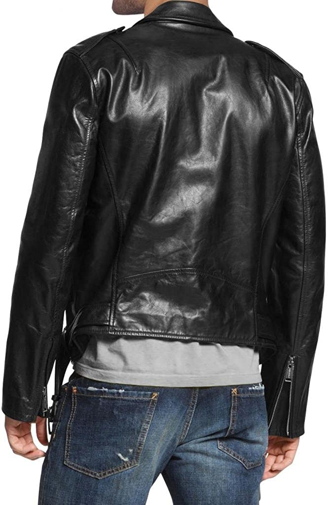 Men Leather Jacket Biker Motorcycle Coat Slim Fit Outwear Jackets A087