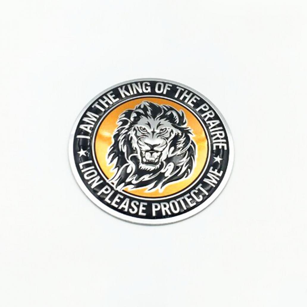 kangql 3d Cool Tigre Lion Eagle Modè le Animal en alliage d'aluminium Auto Voiture Logo Autocollant –  Round # Lion