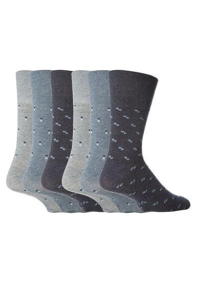 6 pares de mens Gentle Grip sin calcetines elásticos, 39-45 eur colores surtidos
