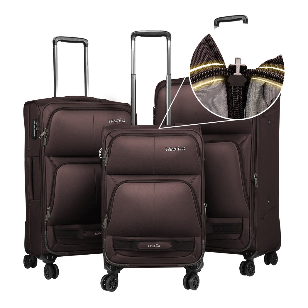 Windtook 3 Piece Luggage Sets Expandable Spinner Suitcase Bag for Travel and Business (8050-Coffee-YKK)