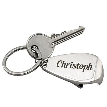 Schlüsselanhänger mit stabilem Schlüsselring und Flaschenöffner inkl Gravur