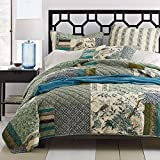 Tache 3 Piece Green Cotton Floral Patchwork Forest Glade Reversible Bedspread Quilt Coverlet Set, Cal King