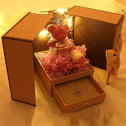 Image Unavailable & Amazon.com: QJJML Gift Box Necklace Eternal Birthday Teddy Bear ...