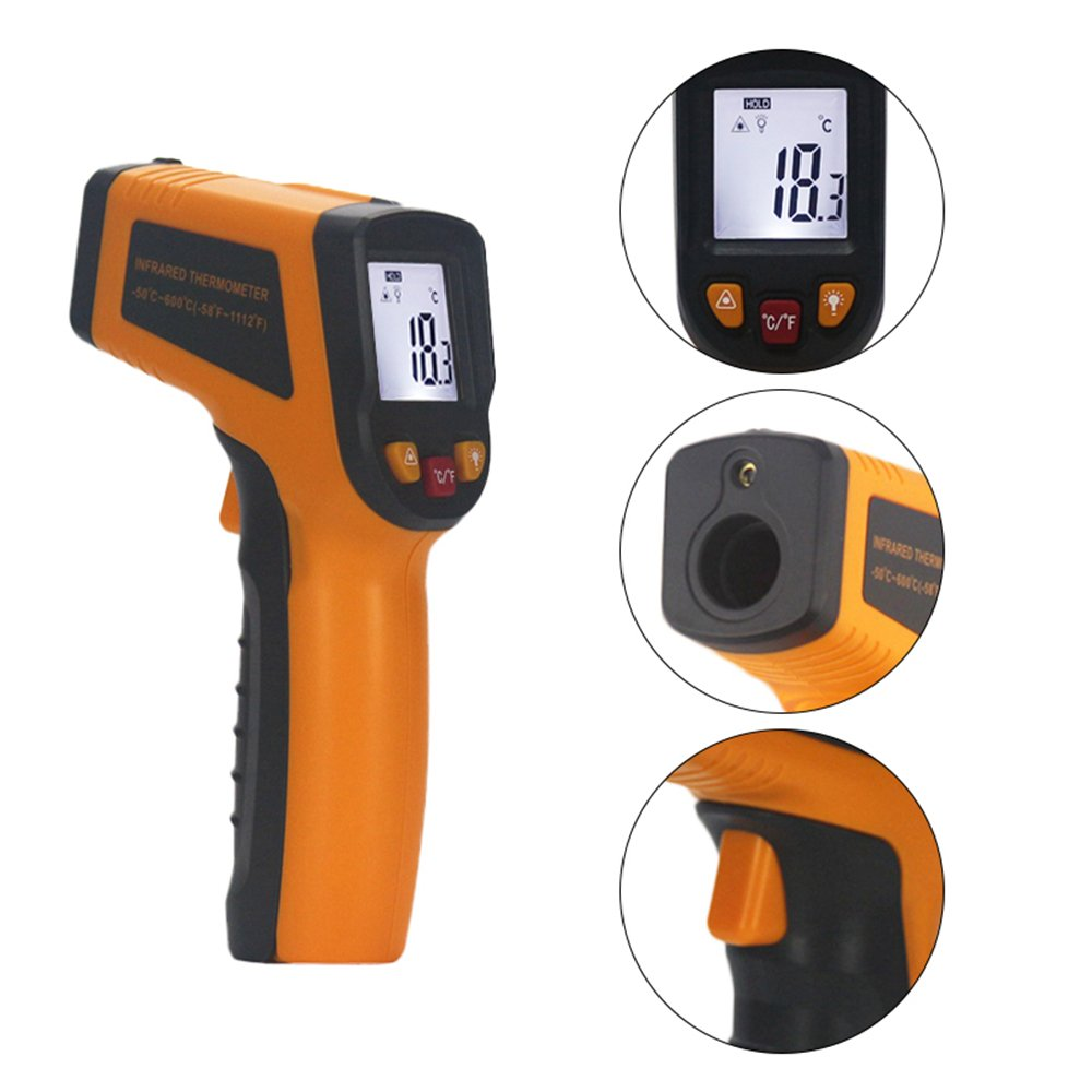KETOTEK IR Infrared Thermometer,Non-contact Digital Laser Infrared Thermometer Temperature Gun -58℉- 1112℉(-50℃ - 600℃)with LCD Display for Kitchen Food Meat BBQ Automotive and Industrial