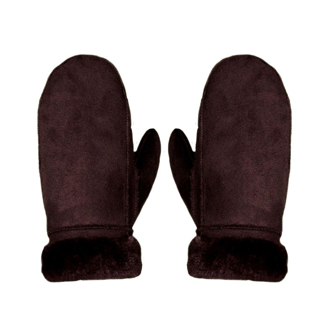 AiSi Womens Sheepskin Gloves Winter Warm Mittens with Cuff Brown hst115-03Z