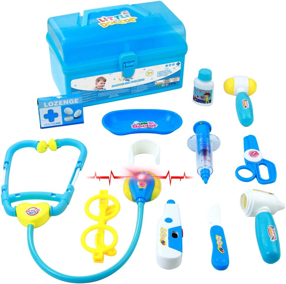 Valigetta Dottore Bambini Kit Infermiere Medico Gioco Giochi di Ruolo Giocattolo per Bambino Toddlers BLU 3 Anni 12 Pezzi