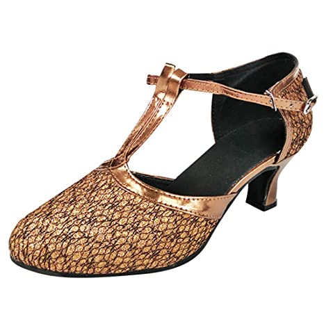 aa80f1dc58dc Amazon.com  Copercn Women s Ladies Elegant Tree Grain Close Toe Ankle  Buckle Double T-Straps Kitten Heel Pointed Sandals Graceful Dance Shoes  Latin Tango  ...