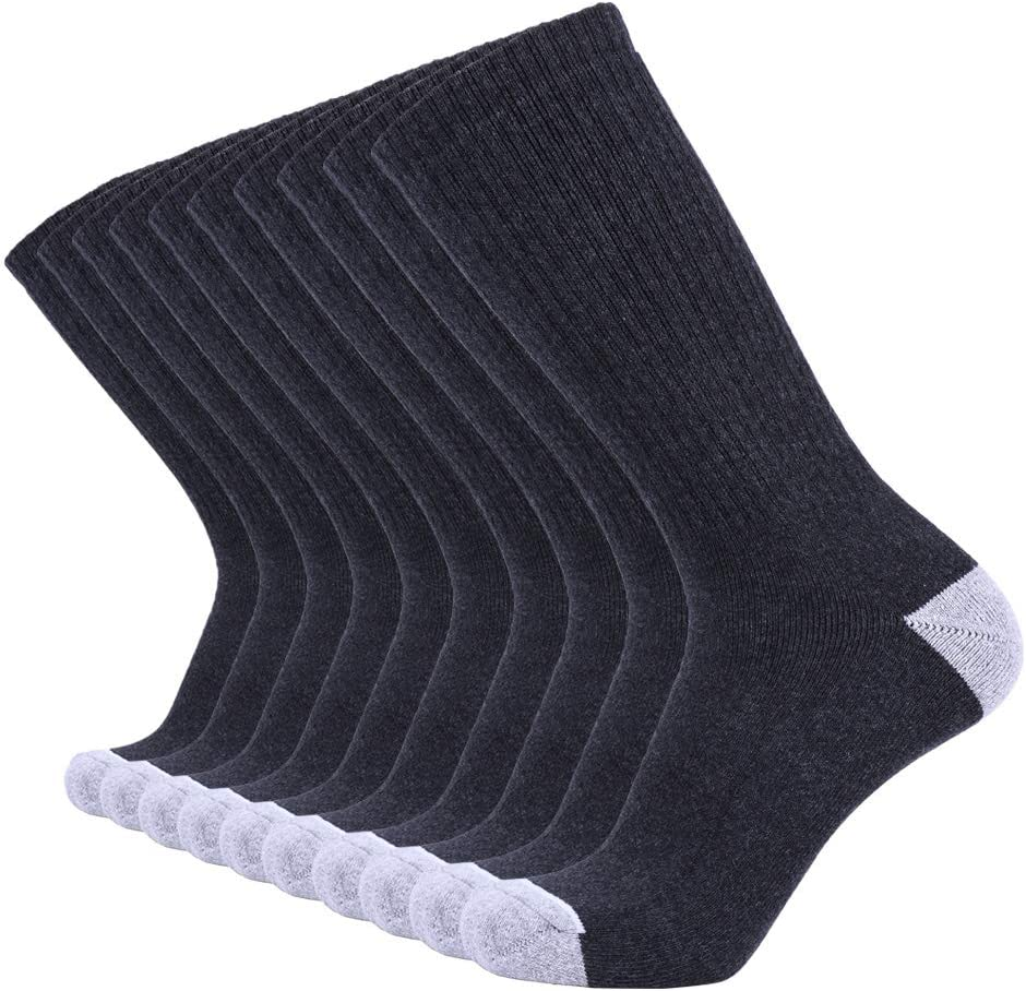 Enerwear 10P Pack Men's Cotton Moisture Wicking Heavy Cushion Crew Socks