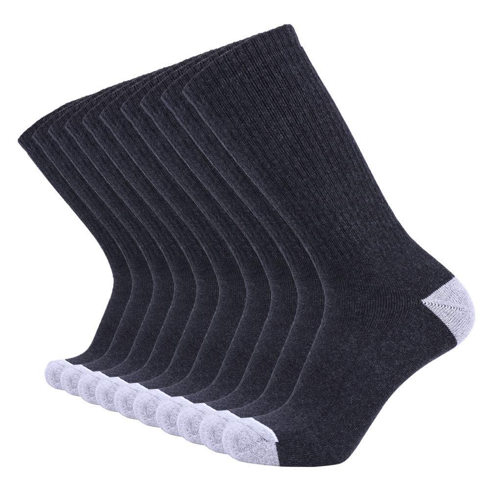 Enerwear 10P Pack Men's Cotton Moisture Wicking Extra Heavy Cushion Crew Socks (10-13/shoe size 6-12, Dark Grey) by Enerwear