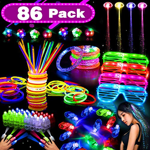 86 Pack LED Light Up Toy Glow in the Dark Party Supplies for Kids with 50 Glow Sticks Bulk 20 LED Finger Lights 4 LED Glasses 4 Light Up Hair 4 LED Bracelets for 2019 New Party Birthday Gift]()