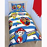 Nickelodeon Childrens/Kids Paw Patrol Pawsome Work Reversible Quilt/Duvet Cover Bedding Set (Twin) (Blue/White)