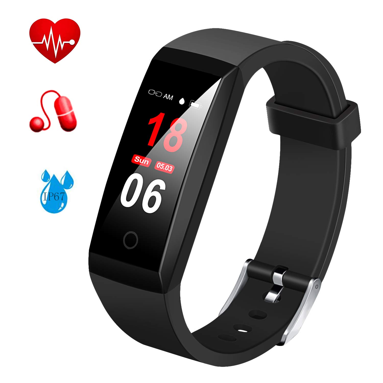 Fitness Tracker,MSDJK Orologio Fitness Activity Tracker braccialetto intelligente Display a colori .IP 67 Smartwatch,Pedometro,Cardiofrequenzimetro, misuratore della pressione sanguigna, rilevatore di sonno per uomini e donne compatibile IOS e Android(nero