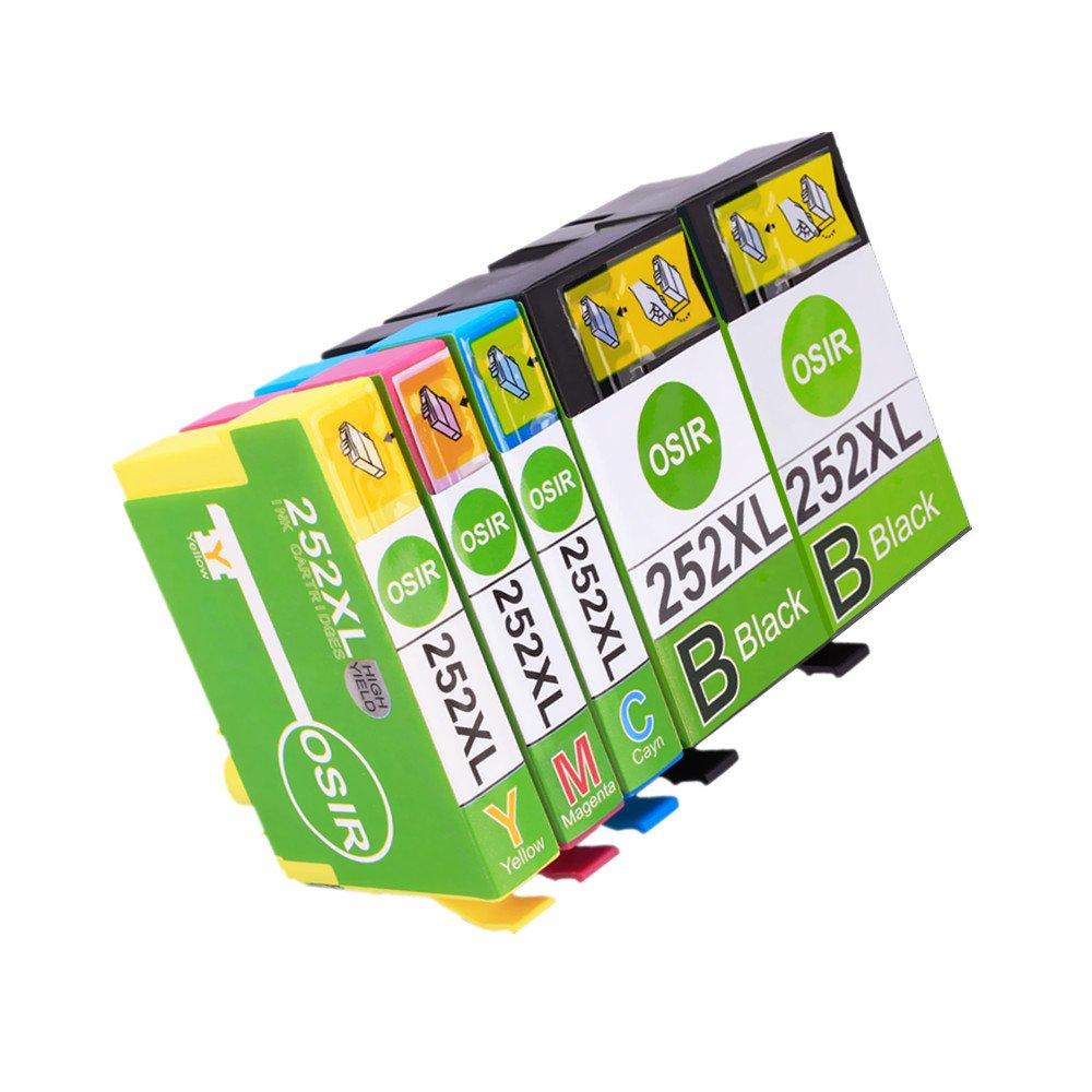 OSIR 1 Set+1 Black Remanufactured Epson 252 XL Ink Cartridges High Yield, Compatible With Epson Wf-3640 Wf-7610 Wf-3620 Wf-3630 Wf-7620 Wf-7110
