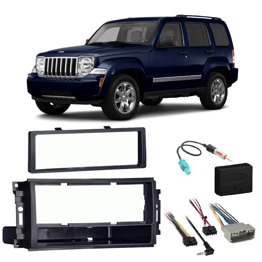 Fits Jeep Liberty 2008-2012 Single DIN Stereo Harness Radio Install Dash Kit Package