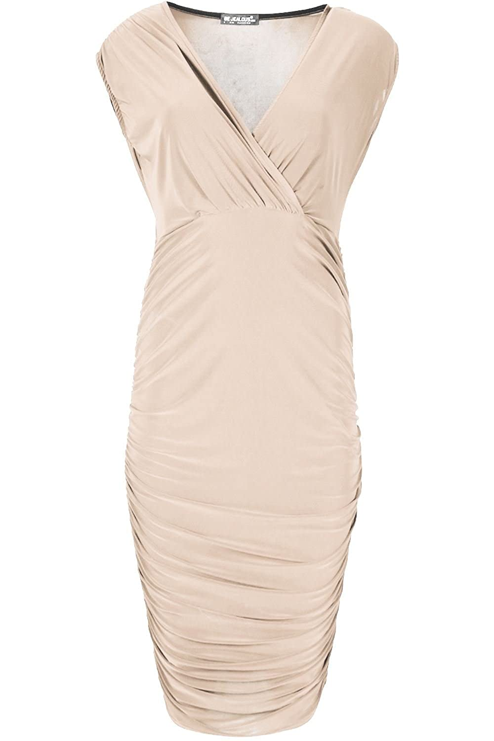 Oops Outlet Midi Dresses Sleeveless Wrap Cross Womens Over V Neck Side Ruched Bodycon
