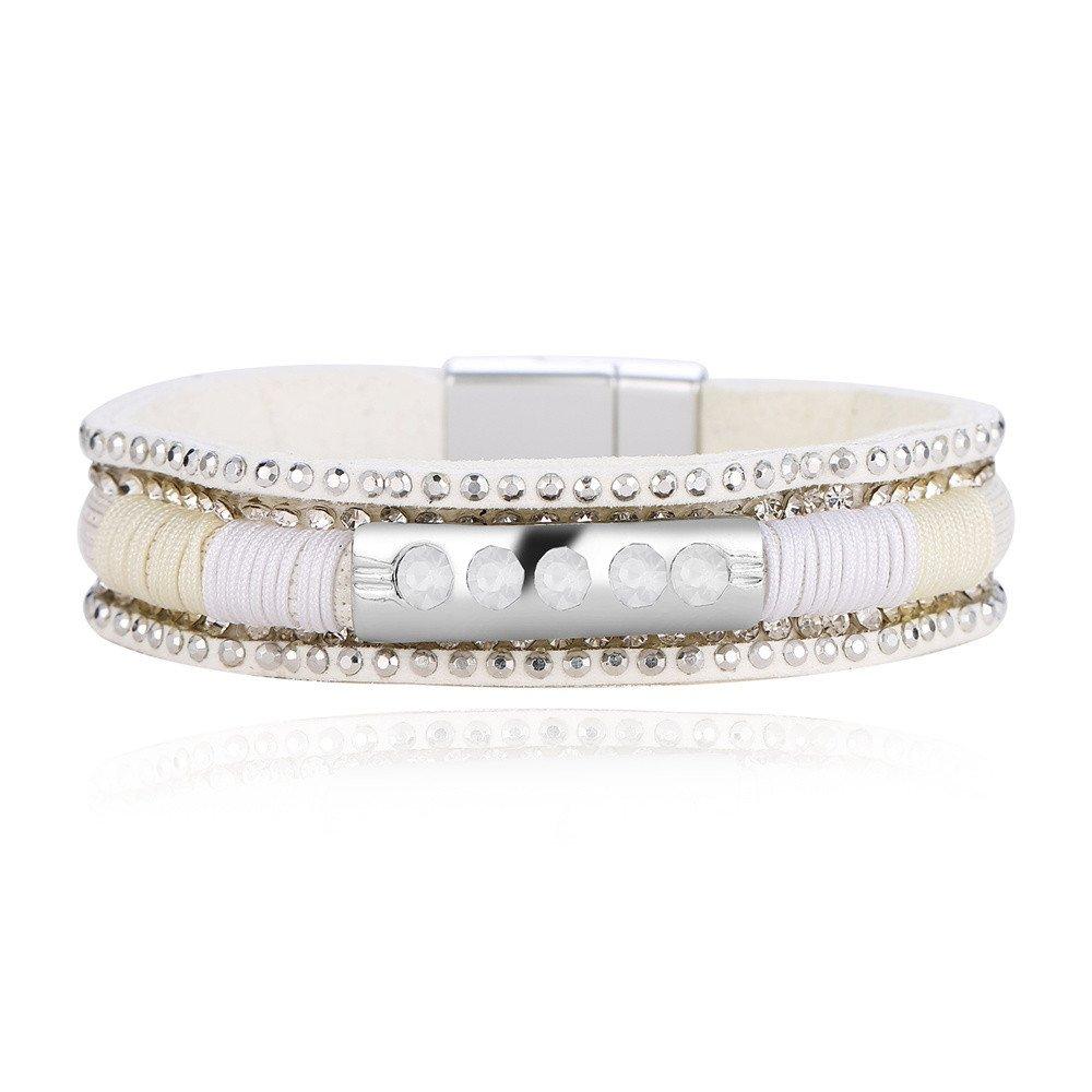 Women Multi-Layer Personalized Rhinestone Prayer Retro Charm Bangle Bracelets Gift for Girls Mens Teens Student Best Friend Forever(WH)