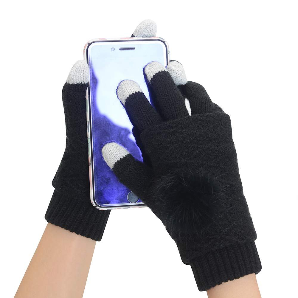 Vodabang Winter Gloves Touch Screen Windproof Knit Gloves Women Warm Gloves for Ladies Outdoor Cycling Running