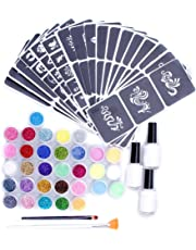 AOLVO Glitter Tattoo Kit,32 Large Glitter Colors, 104 Uniquely Themed Temporary Tattoo Stencils, 3 Glue Applicator Bottles & 2 Glitter Brushes for Children, Teenagers & Adults
