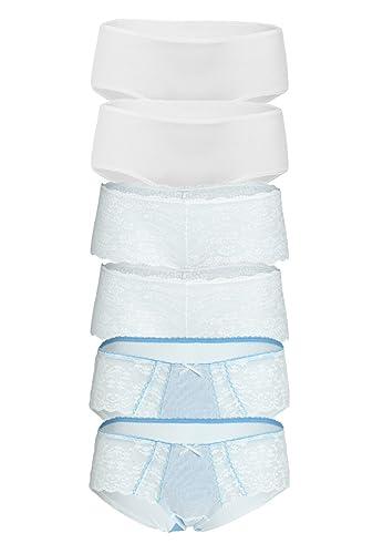 braboo - Shorts - para mujer Weiß Hellblau Elfenbein M