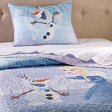 Disney FROZEN Elsa/Olaf Twin/Full Quilt & Sham Set - Super Soft Kids Bedding Features Elsa and Olaf - Fade Resistant Polyester (Official Disney Product)