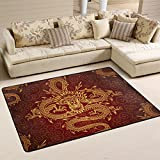 Naanle Asian Area Rug 2'x3', Dragon Polyester Area Rug Mat for Living Dining Dorm Room Bedroom Home Decorative