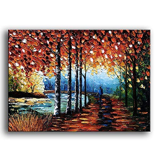 YaSheng Art -Landscape Oil Painting On Canvas Textured Silver Birch Tree Abstract Contemporary Art Wall Paintings Handmade Painting Home Office Decorations Canvas Wall Art Painting 24x36inch - Kitchen Oil Painting
