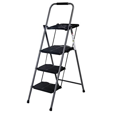 New Hd 3 Step Ladder Platform Folding Stool 330 LBS Capacity Space Saving W/tray by Giantex